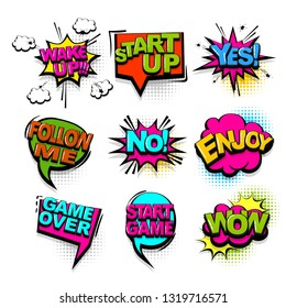 Wake up wow start game comic text collection sound effects pop art style. Set vector speech bubble with word and short phrase cartoon expression illustration. Comics book colored background template.