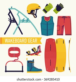 Wakeboard gear. Cool vector flat design elements and items on wakeboarding featuring wakeboard, bindings, boots, rope and handle, helmet, shorts, gloves and tower for motor boat