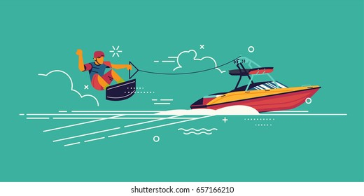 Wakeboarding. Cool vector wakeboard concept background with abstract water sportsman performing tricks being towed by motorboat. Watersport activity and recreation background