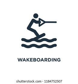 Wakeboarding icon. Black filled vector illustration. Wakeboarding symbol on white background. Can be used in web and mobile.