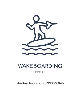 wakeboarding icon. wakeboarding linear symbol design from sport collection. Simple outline element vector illustration on white background