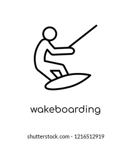 wakeboarding icon. Trendy modern flat linear vector wakeboarding icon on white background from thin line sport collection, editable outline stroke vector illustration