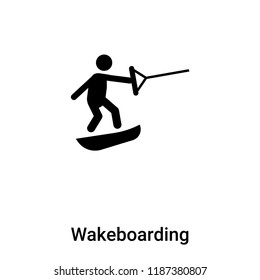 Wakeboarding icon vector isolated on white background, logo concept of Wakeboarding sign on transparent background, filled black symbol