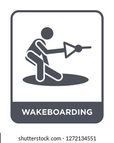 wakeboarding icon vector on white background, wakeboarding trendy filled icons from Free time collection, wakeboarding simple element illustration