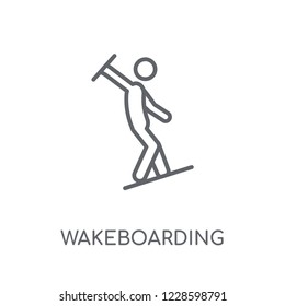 wakeboarding linear icon. Modern outline wakeboarding logo concept on white background from Sport collection. Suitable for use on web apps, mobile apps and print media.
