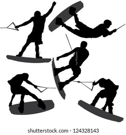 Wake-boarding Silhouette on white background