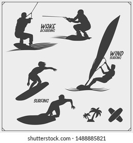 Wakeboarding silhouettes, labels and design elements. Set of emblems for wakeboard club and print design for t-shirt.