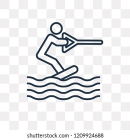 Wakeboarding vector outline icon isolated on transparent background, high quality linear Wakeboarding transparency concept can be used web and mobile