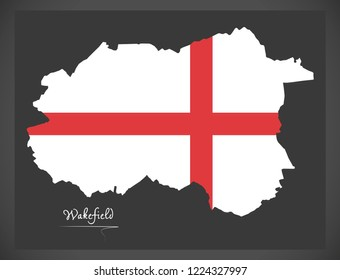 Wakefield City map with English national flag illustration