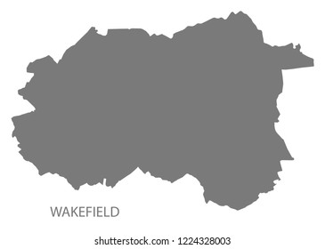 Wakefield city map grey illustration silhouette shape