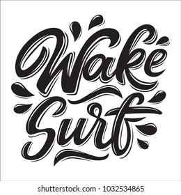 Wakesurf lettering logo in graffiti style isolated on white background. Vector illustration for design t-shirts, banners, labels, clothes, apparel, water extreme sports competition.