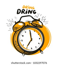 Wake-up call, alarm clock is ringing. Vector illustration