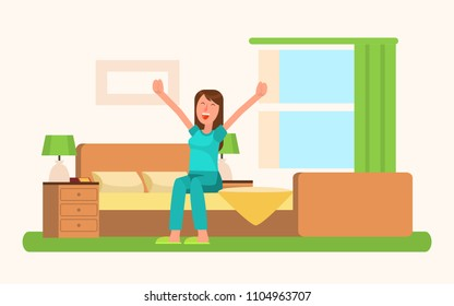 Waking up of charming woman sitting on bed in the room, interior and light from broad window with green curtains, good morning vector illustration