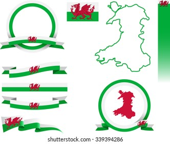 Wales Banner Set. Vector graphic banners and ribbons representing Wales.