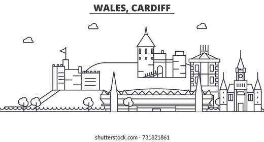 Wales, Cardiff architecture line skyline illustration. Linear vector cityscape with famous landmarks, city sights, design icons. Landscape wtih editable strokes