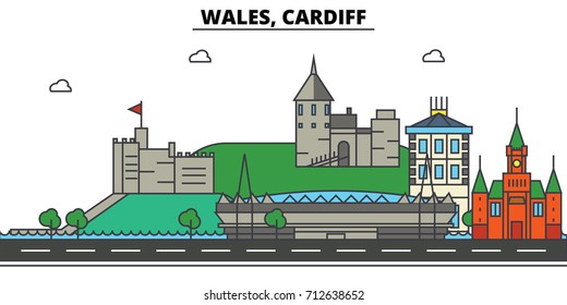 Wales, Cardiff. City skyline: architecture, buildings, streets, silhouette, landscape, panorama, landmarks. Editable strokes. Flat design line vector illustration concept. Isolated icons set