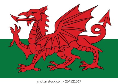 Wales coat of arms, seal, national emblem, isolated on white background. Vector Coat of arms of Wales, Original and simple Wales coat of arms in official colors and Proportion Correctly.