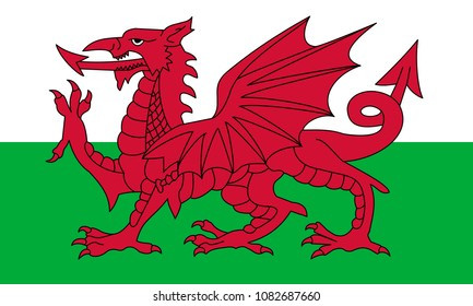 Wales flag with official colors and the aspect ratio of 3:5. Flat vector illustration.