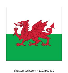 Wales Flag Vector Square Icon - Illustration, Flag of Wales. Abstract concept, icon, square, button. Raster illustration on white background.