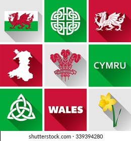 Wales Flat Icon Set. Vector graphic flat icon images of landmarks and symbols representing Wales.