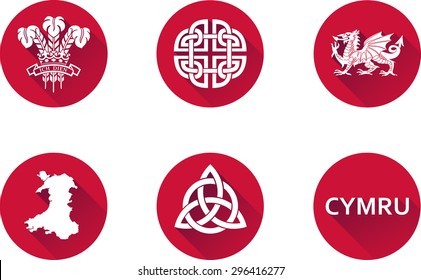 Wales Flat Icons Set. Set of vector graphic icons representing national symbols of Wales. The text says 'Wales' in Welsh.
