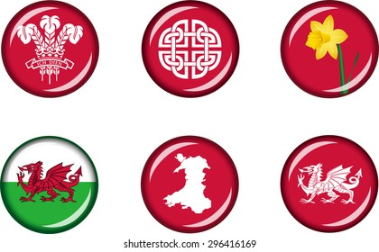 Wales Glossy Icons Set. Set of vector graphic glossy icons representing national symbols of Wales.