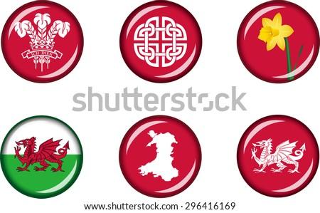 Wales Glossy Icons Set Set Vector Stock Vector Royalty Free