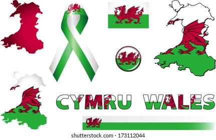 Wales Icons. Set of vector graphic images and symbols representing Wales. The text says 'Wales' in Welsh.