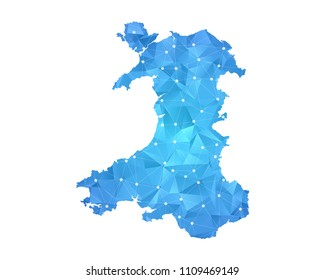 Wales Map - Abstract geometric rumpled triangular low poly style gradient graphic on white background , line dots polygonal design for your . Vector illustration eps 10.