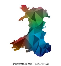 Wales map in geometric polygonal style. Abstract Polygon Map. Low Poly Color Rainbow Wales map of isolated. Vector Illustration EPS10.