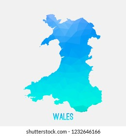 Wales map low poly geometric polygonal,mosaic style,abstract tessellation,modern design background. Geometric cover, mockup. Vector illustration EPS10.