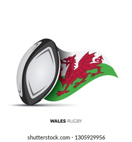 Wales national flag rugby ball.