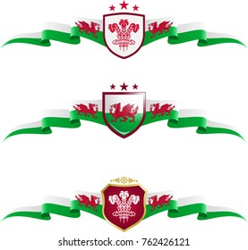 Wales Patriotic Banner Set. Vector graphic banners and shields representing Wales
