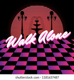 Walk alone. Vector poster with silhouette of lanterns and fountain hand made in vaporwave style. Template for card, poster, banner, print for t-shirt, pin, badge, patch.