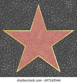 Walk of fame Hollywood boulevard celebrity star blank template on granite square, sign of personal achievements in entertainment industry. Symbol of success, professional realization illustration