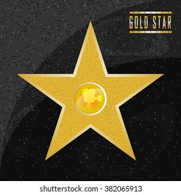 Walk of fame star on the granite floor. Vector star on granite background. Vector star eps