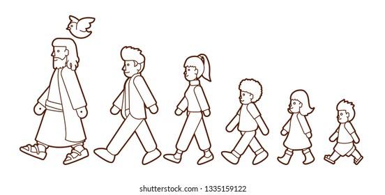 Walk with Jesus, Follow Jesus cartoon graphic vector.