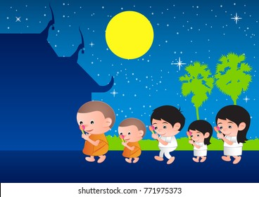 walk with lighted candles in hand around a temple,tradition of Buddhist to pay respect and belief to religion,Big bubble head cartoon,vector illustration