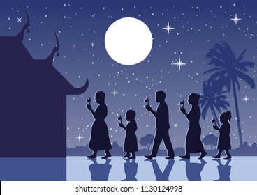 walk with lighted candles in their hands around a temple, Buddhist tradition  to pay respect and belief to religion, silhouette style,vector illustration