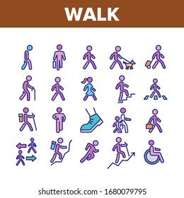 Walk People Motion Collection Icons Set Vector. Human Walk With Dog And Luggage, With Case And Backpack, Crosswalk And Stairs Concept Linear Pictograms. Color Illustrations