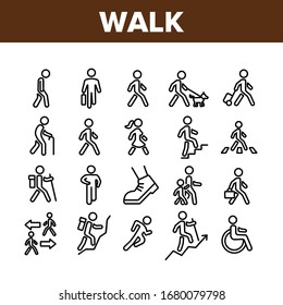 Walk People Motion Collection Icons Set Vector. Human Walk With Dog And Luggage, With Case And Backpack, Crosswalk And Stairs Concept Linear Pictograms. Monochrome Contour Illustrations