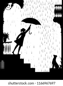 walk in rain, Girl opens the umbrella and go for a walk and gog waiting for her, my friend dog, black and white, shadow, vector