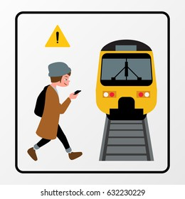 Walk Safely without accident from car and train cartoon style