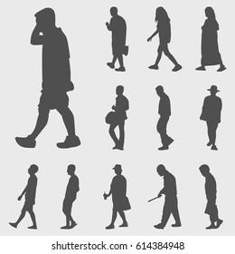 walk silhouettes vector set