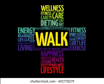 WALK word cloud collage, health cross concept