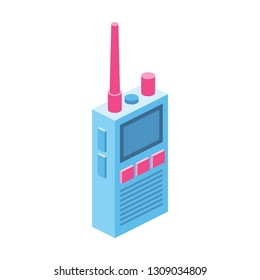 Walkie talkie 3d vector icon isometric pink and blue color minimalism illustrate