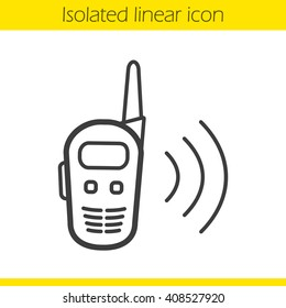 Walkie talkie linear icon. Thin line illustration. Radio transceiver contour symbol. Vector isolated outline drawing
