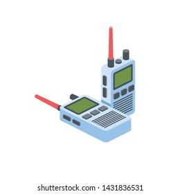 Walkie talkie vector 3d isometric color icon new flat style. Creative illustration, idea for infographics.