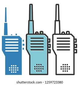 Walkie-talkie or Portable radio transceiver icons.