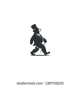 walkin bear vintage logo design